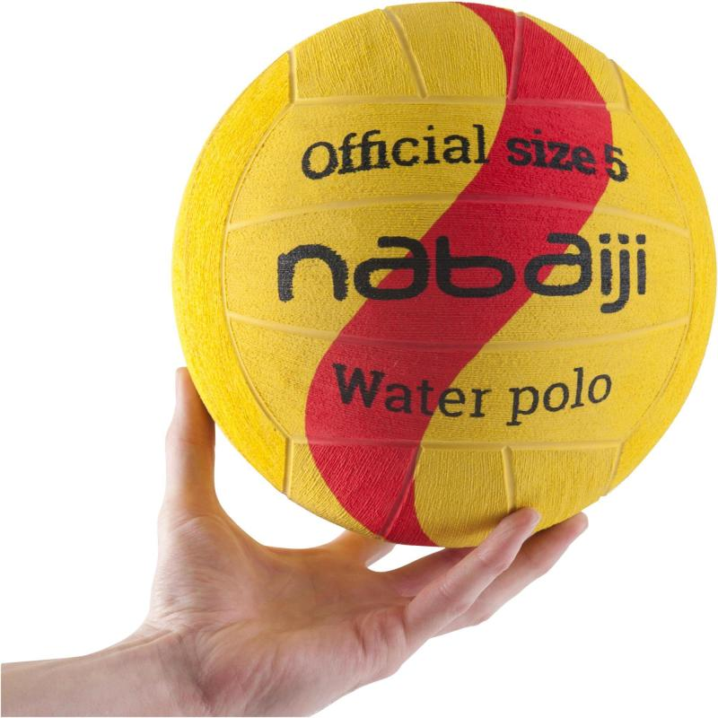 BALLON WATER POLO HOMME TAILLE 5 JAUNE ROUGE NABAIJI